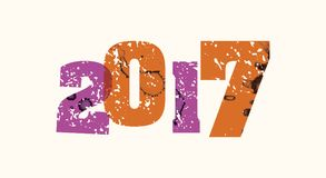 2017 Concept Gestempeld Word Art Illustration Stock Foto