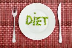 Concept: gezond voedsel en dieet. het woord Stock Afbeelding
