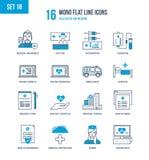 Concept - gezondheidszorg en geneeskunde, medische ziektekostenverzekering, onderwijs, onderzoek vector illustratie