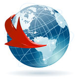 Concept - Global Business. Concept Global Business with Earth and Arrow, vector illustration Stock Photography