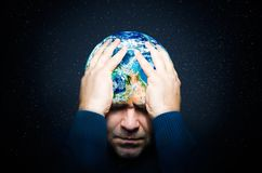The concept of global catastrophe. The destruction of the planet Earth royalty free stock photo