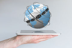 Concept of global communication via email, chat and messaging clients. Stock Photos