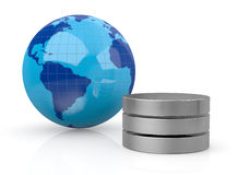 Concept of global computer network. One world globe with database symbol near it (3d render Stock Image