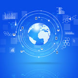 Concept Global Connections. Concept Social and Businesss Connections Blue Background Stock Photography