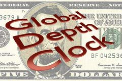 Concept global d'horloge de dette Image stock