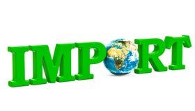 Concept global d'importation, inscription verte avec le globe de la terre 3d au sujet de illustration de vecteur