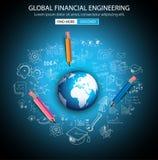 Concept global d'ingénierie financière avec le style de conception de griffonnage illustration de vecteur