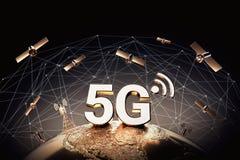 Concept global de connectivité avec des noeuds mondiaux de connexion du réseau de transmission dans le monde entier focalisés au- illustration de vecteur