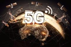 Concept global de connectivité avec le réseau de transmission mondial et lettres 5G se tenant au-dessus du territoire de l'Austra illustration libre de droits