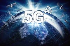 Concept global de connectivité avec le réseau de transmission mondial et lettres 5G se tenant au-dessus du territoire de l'Austra illustration de vecteur