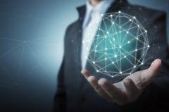 Concept global de connexion réseau de cercle d'affaires Images stock