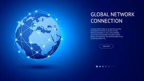 Concept global de connexion réseau Le meilleur Internet, affaires globales Point et ligne vecteur de carte du monde de compositio illustration stock