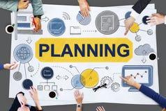 Concept global de données commerciales de stratégie de planification Images libres de droits