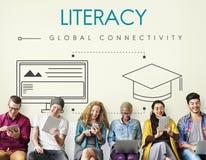 Concept global de graphique de connectivité d'éducation photographie stock libre de droits