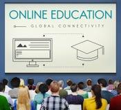 Concept global de graphique de connectivité d'éducation en ligne image libre de droits