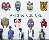 Concept global de masques traditionnels culturels Images libres de droits