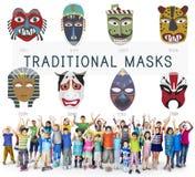 Concept global de masques traditionnels culturels Photos stock