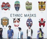 Concept global de masques traditionnels culturels Photos libres de droits