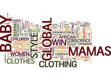 Concept global de nuage de Word de conscience de mamans Baby Clothes With A Image stock