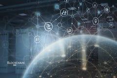 Concept global de réseau de blockchain Photos stock