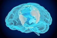 Concept global de technologie d'intelligence, 3D Photographie stock