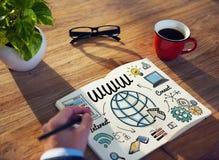 Concept global de technologie en ligne de Web de WWW Photos stock