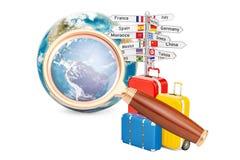 Concept global de voyage de recherche, 3D illustration de vecteur