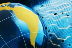 The concept of a global Internet network. Digital background of blue color.  Royalty Free Stock Images