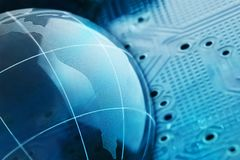 The concept of a global Internet network. Digital background of blue color.  Royalty Free Stock Photography