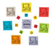 Concept - global networking. Colored paper sheets. Stock Images
