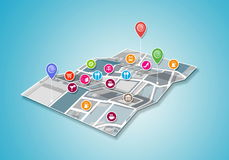 GPS on street map Royalty Free Stock Photo