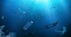 Concept of global problem with plastic rubbish stock images