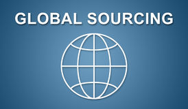 Concept of global sourcing. On blue background Royalty Free Stock Photo