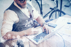 Concept Global Strategy Virtual Icon Diagram Graph Interface Investments Reserch.Bearded Businessman Searching Great. Business Decisions.Young Man Working royalty free stock photo