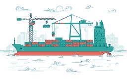 Cargo port. Concept of global transportation, graphic of cargo port with operating equipment, vector of crane loading on industrial ship Royalty Free Stock Image