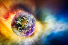 Concept of global warming. The earth and motion light with fire blaze in concept of global warming, Elements of this image furnished by NASA Stock Images