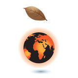 Concept of the Global warming. Sun burning the planet   Earth. Royalty Free Stock Photo