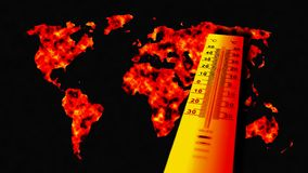 Concept of global warming. Thermometer relating to a map of the world Royalty Free Stock Photos