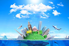 The concept of global warming. The world is slowly submerged Royalty Free Stock Image