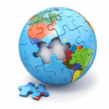 Concept of Globalization. Earth puzzle. 3d Royalty Free Stock Photos