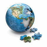 Concept of Globalization. Earth puzzle. 3d Royalty Free Stock Photo