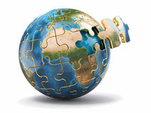 Concept of Globalization. Earth puzzle. 3d Stock Photos