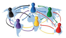 Concept for globalization, global networking, travel or global connection or transportation. Colorful figures with. Concept for globalization, global networking stock illustration