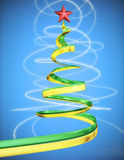 Concept glowing christmas tree with red star at red background. Close up Royalty Free Stock Image