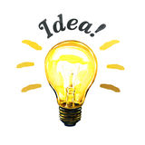 Concept of glowing yellow light bulb idea, watercolor painting Royalty Free Stock Photography