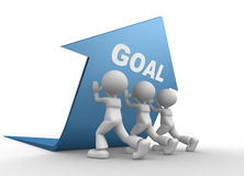 Concept of goal. 3d people - men, person pushing blue arrow. Concept of goal Stock Photo