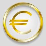 Concept golden euro symbol logo button. Concept golden euro symbol logo in round button. Vector orange background Stock Photo