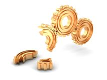 Concept golden gear as failed teamwork Royalty Free Stock Photos