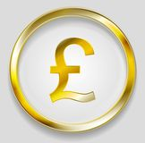 Concept golden pound symbol logo button. Concept golden pound symbol logo in round button. Vector orange background Stock Photo