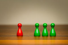 Concept good bad, isolation, confrontation, competition. Concept for: good or bad, isolation, confrontation, competition and difference. With colorful red and Royalty Free Stock Images